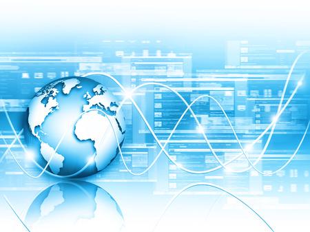 Meilleur Concept Internet. Globe, lignes élogieuses sur fond technologique.
