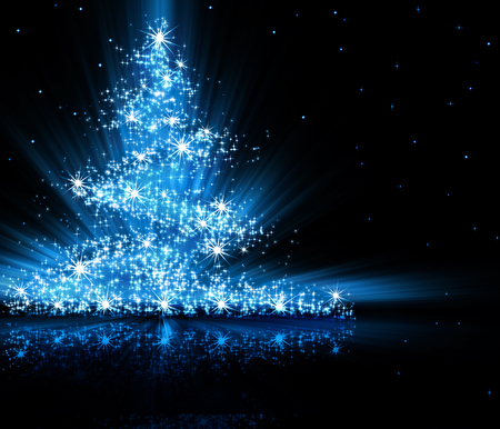 retro christmas tree: Christmas blue tree, beautiful snowflakes and shining stars