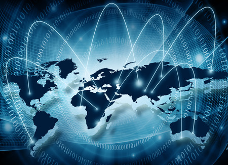 imaginary line: World map on a technological background, glowing lines symbols of the Internet, radio, television, mobile and satellite communications.