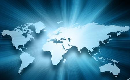 Wereldkaart op een technologische achtergrond, gloeiende lijnen symbolen van het internet, radio, televisie, mobiele en satellietcommunicatie.