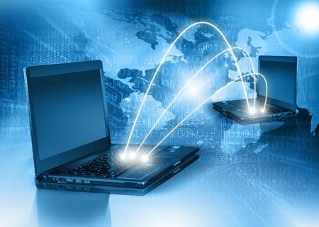 Best Internet Concept of global business. Globe, laptop on technological background.