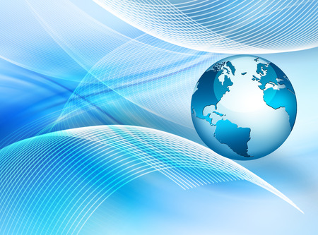 information international: Best Internet Concept. Globe, glowing lines on technological background.  Stock Photo