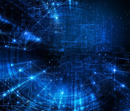 テクノロジー: 抽象的な青い背景。技術背景に、シリーズ最高のグローバル ビジネスの概念