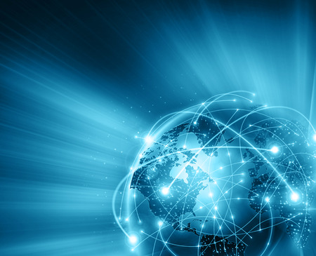 internet globe: Best Internet Concept of global business. Globe, glowing lines on technological background. Stock Photo