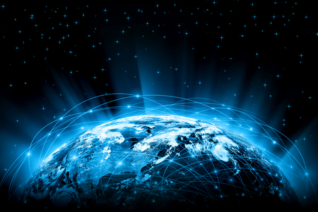 Best Internet Concept. Globe, glowing lines on technological background. 版權商用圖片 - 46461248