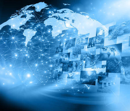 worldwide web: Best Internet Concept. Globe, glowing lines on technological background.  Stock Photo