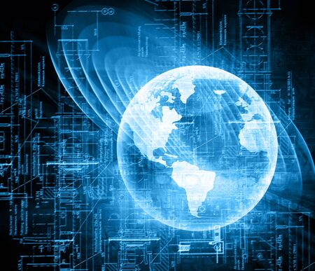 internet globe: Best Internet Concept. Globe, glowing lines on technological background.  Stock Photo