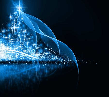 青いクリスマス ツリー、美しい雪の結晶と輝く星