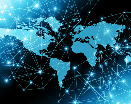World map on a technological background, glowing lines symbols of the Internet, radio, television, mobile and satellite communications. Internet Concept of global business. Stock fotó