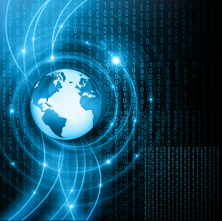 internet: Best Internet Concept. Globe, glowing lines on technological background.  Stock Photo