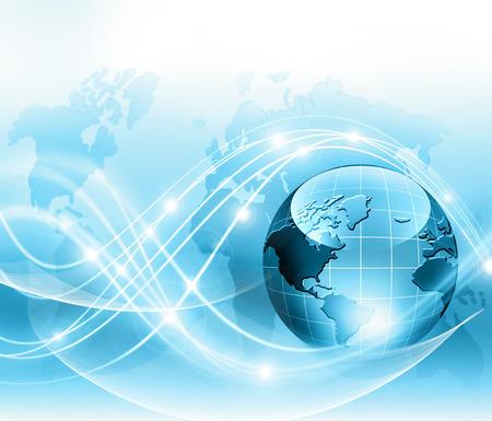 最もよいインターネットの概念。グローブ、技術背景に光る線。