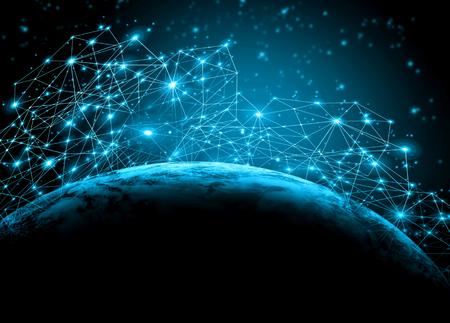 Nejlepší internetový koncept globálního podnikání z koncepce řady, připojovacích symboly komunikačních linek.