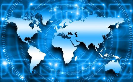 world of work: World map on a technological background
