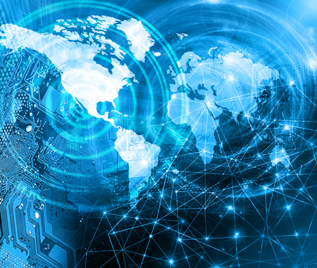 World map on a technological background, glowing lines symbols of the Internet, radio, television, mobile and satellite communications. Internet Concept of global business. Archivio Fotografico