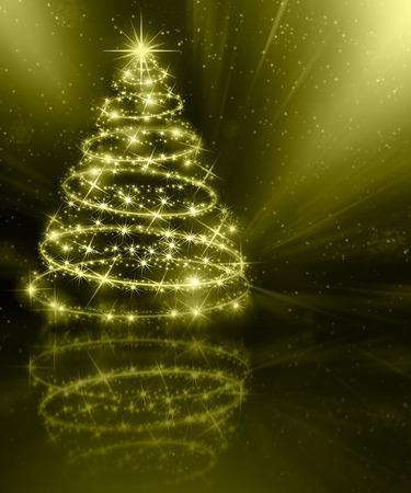 gold tree: Christmas gold tree, beautiful snowflakes and shining stars