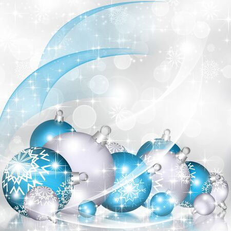 blue grey: Christmas background blue balls, beautiful snowflakes and shining stars