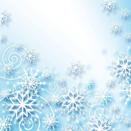 fondo para tarjetas: descendente brilla copos de nieve y las estrellas sobre fondo azul