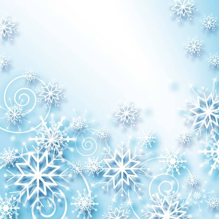 background card: snowflakes and stars blue shining descending on background