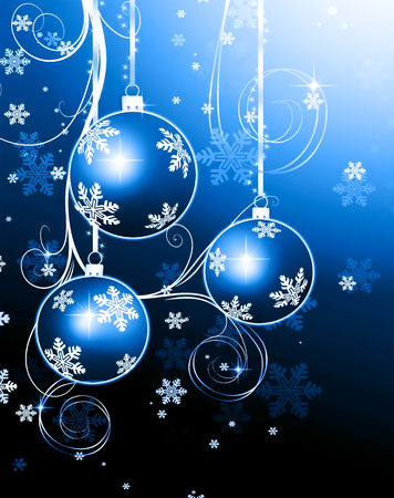 glint: Christmas background blue balls, beautiful snowflakes and shining stars