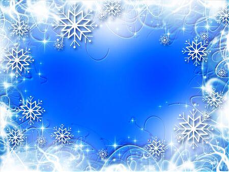 blue ball: Christmas blue tree, beautiful snowflakes and shining stars