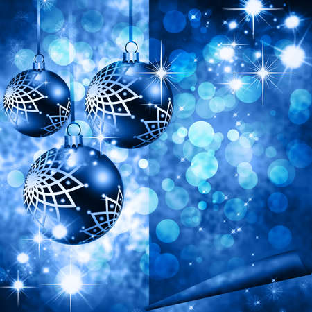 blue snowflakes: Christmas background blue balls, beautiful snowflakes and shining stars