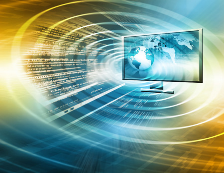 flat panel monitor: Television and internet production technology concept. Best Internet Concept of global business Stock Photo