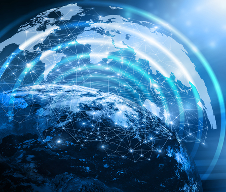 imaginary line: World map on a technological background, bright lines and rays, symbols of the Internet, radio, television, mobile and satellite communications. Best Internet Concept of global business. Primary source and elements of this image furnished by NASA