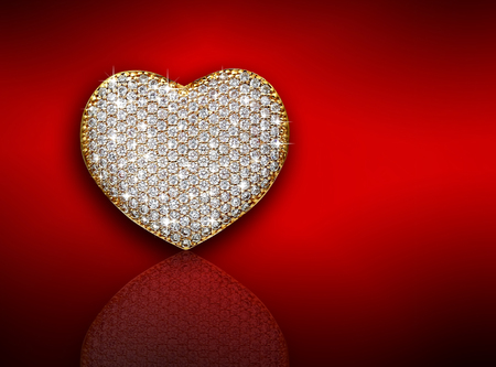 heart diamond: Heart diamond composition. Valentines day abstract background