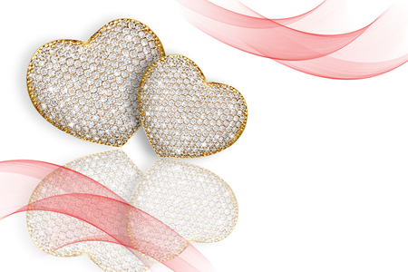 diamond background: Heart diamond composition. Valentines day abstract background