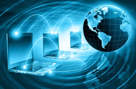 software company: Best Internet Concept. Globe, glowing lines on technological background. Electronics, Wi-Fi, rays, symbols Internet, television, mobile and satellite communications. Technology illustration