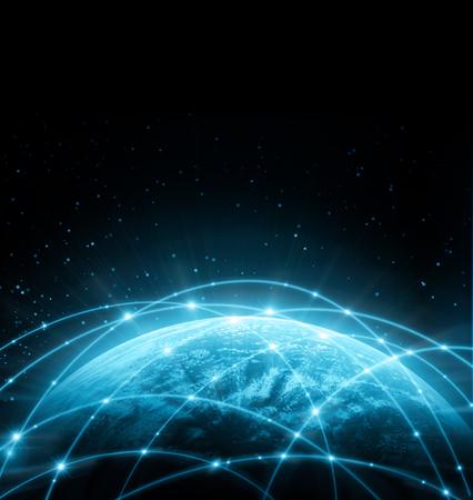 kavramlar serisi, bağlantı sembolleri iletişim hatları küresel iş en iyi Internet kavramı. NASA tarafından döşenmiş bu görüntü unsurları