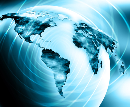 World map on a technological background, glowing lines symbols of the Internet, radio, television, mobile and satellite communications. Internet Concept of global business. Stock Photo