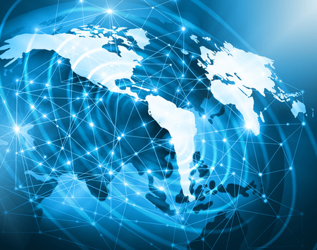 internet: World map on a technological background, glowing lines symbols of the Internet, radio, television, mobile and satellite communications. Internet Concept of global business. Stock Photo