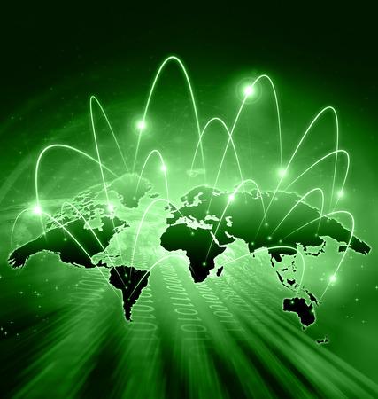 Carte du monde sur un fond technologique, des lignes incandescentes symboles des communications Internet, la radio, la télévision, mobiles et par satellite. Internet Concept du commerce mondial.