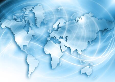 imaginary line: World map on a technological background, glowing lines symbols of the Internet, radio, television, mobile and satellite communications. Internet Concept of global business.