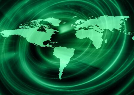 imaginary line: World map on a technological background, glowing lines symbols of the Internet, radio, television, mobile and satellite communications. Internet Concept of global business. Stock Photo