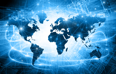 World map on a technological background, glowing lines symbols of the Internet Stockfoto