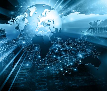 El mejor concepto del Internet. Globo, líneas brillantes en el fondo tecnológico. comunicaciones electrónica, Wifi, rayos, símbolos de Internet, televisión, móviles y por satélite. ilustración de la tecnología