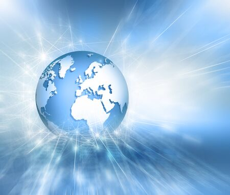 Best Internet Concept. Globe, glowing lines on technological background.