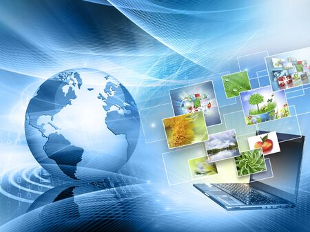 Best Internet Concept. Globe, glowing lines on technological background. Electronics,  Wireless , rays, symbols Internet, television, mobile and satellite communications. Technology illustration, 3D illustration