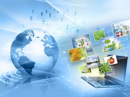 communications technology: Best Internet Concept. Globe, glowing lines on technological background. Electronics, Wireless, rays, symbols Internet, television, mobile and satellite communications. Technology illustration, 3D illustration