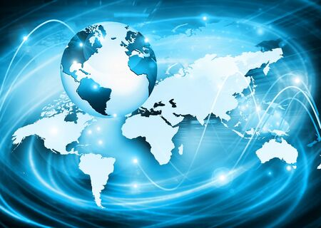 Best Internet Concept. Globe, glowing lines on technological background. Electronics, wireless, rays, symbols Internet, television, mobile and satellite communications. Technology illustration, 3D illustration