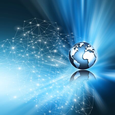 Best Internet Concept. Globe, glowing lines on technological background. Electronics, Wi-Fi, rays, symbols Internet, television, mobile and satellite communications. Technology illustration, 3D illustration Stock Photo