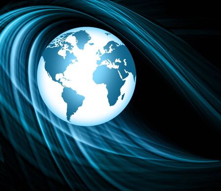 wi: Best Internet Concept. Globe, glowing lines on technological background. Electronics, Wi-Fi, rays, symbols Internet, television, mobile and satellite communications. Technology illustration, 3D illustration Stock Photo