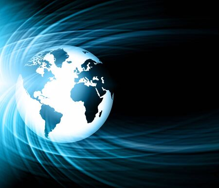 Best Internet Concept. Globe, glowing lines on technological background. Electronics, Wireless rays, symbols Internet, television, mobile and satellite communications. Technology illustration, 3D illustration Stock Photo