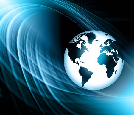 locomotion: Best Internet Concept. Globe, glowing lines on technological background. Electronics, Wireless, rays, symbols Internet, television, mobile and satellite communications. Technology illustration, 3D illustration