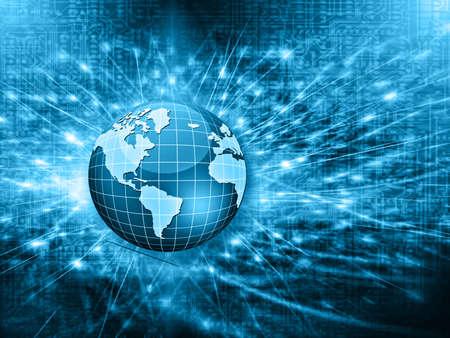 mobile communications: Best Internet Concept. Globe, glowing lines on technological background. Electronics, wireless, rays, symbols Internet, television, mobile and satellite communications. Technology illustration, 3D illustration