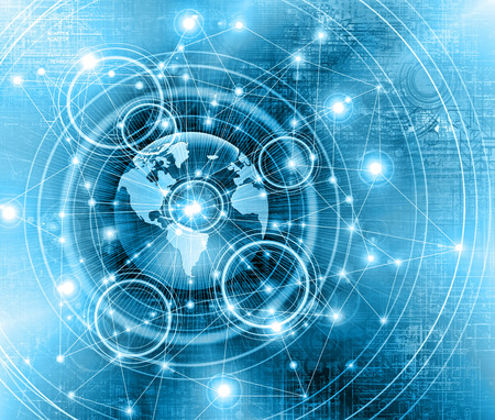information age: Best Internet Concept of global business.Technological background. Electronics, wireless, rays, symbols of the Internet, television, mobile and satellite communications Stock Photo