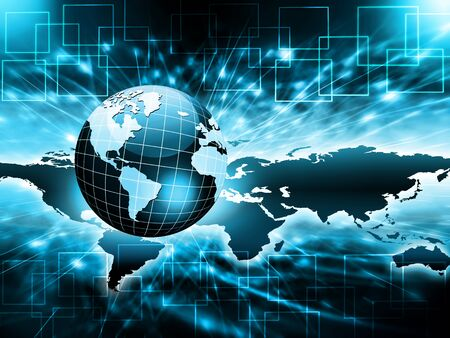 Best Internet Concept. Globe, glowing lines on technological background. Electronics,wireless, rays, symbols Internet, television, mobile and satellite communications. Technology illustration, 3D illustration