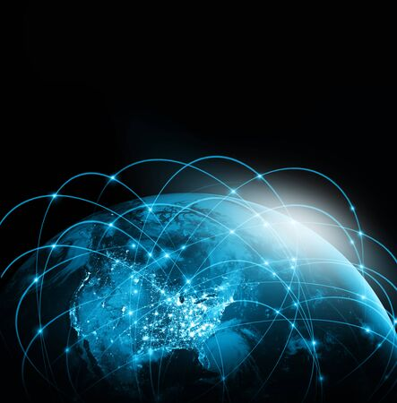 World map on a technological background, bright lines and rays, symbols of the Internet, radio, television, mobile and satellite communications. Best Internet Concept of global business. Stock fotó